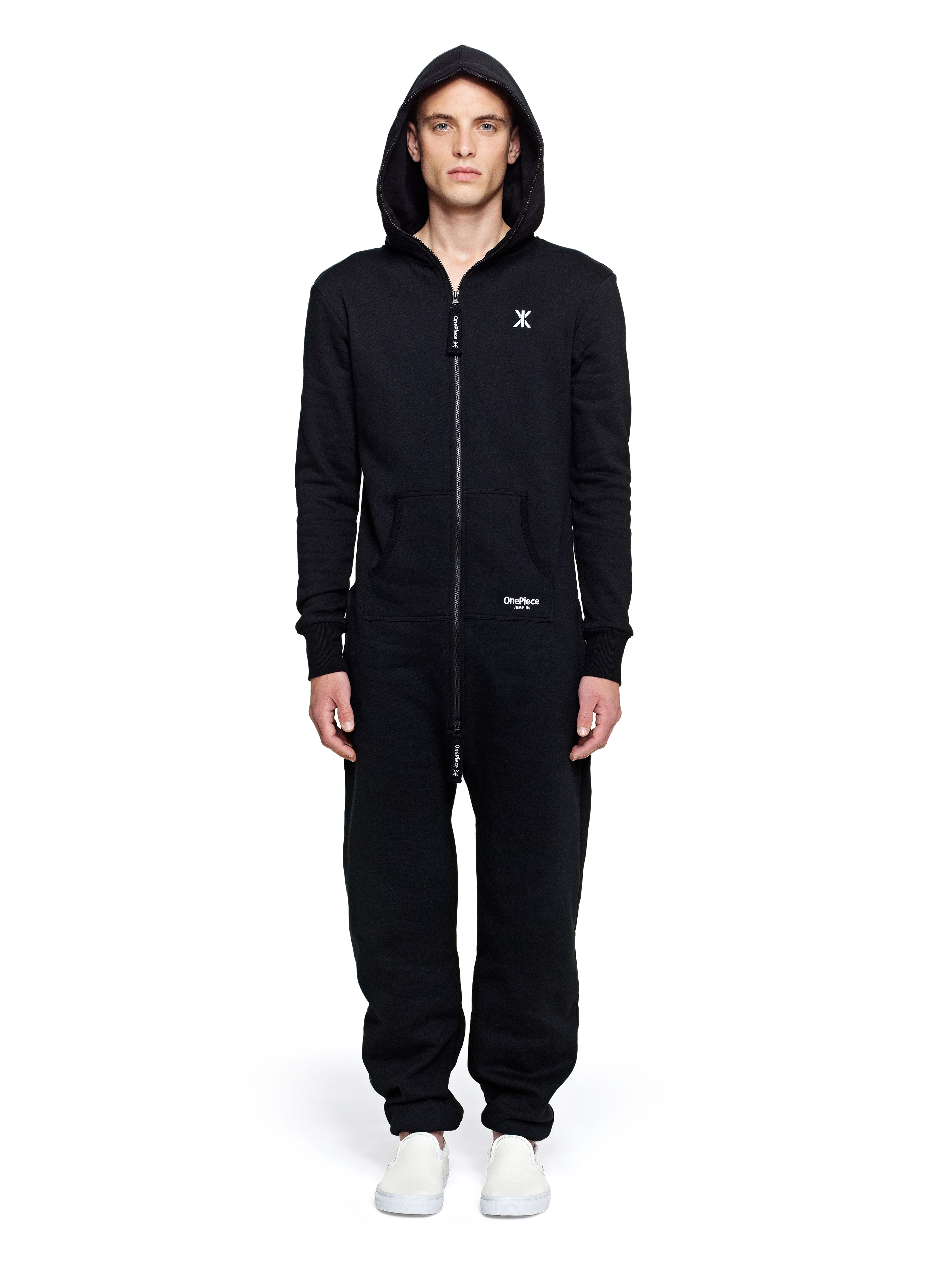 Bunny Onesie For Men by Blamo. Adult bunny onesie is handmade with knitted cotton in black or grey. One-piece rabbit jumpsuit designed with bendable foam ears and fluffy pom pom tail.