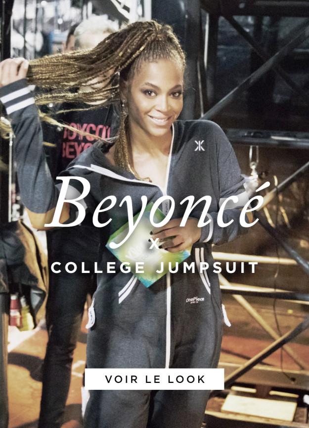beyoncé porte un jumpsuit combinaison de la marque Onepiece à Glasgow pour son Formation Tour