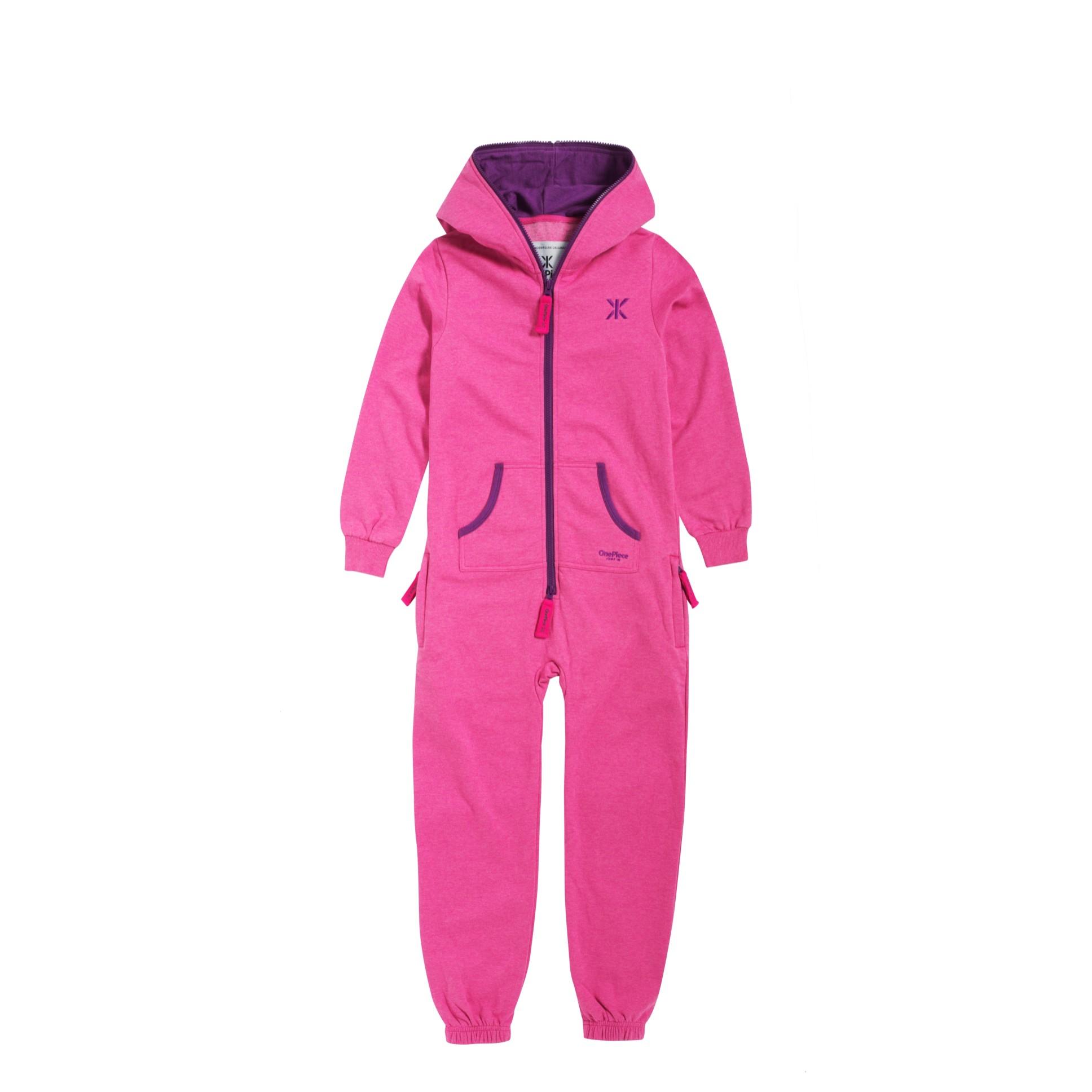 Solid Kids Jumpsuit Himbeer Pink Meliert